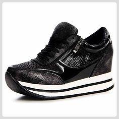 topschuhe24 1198 Damen Plateau Turnschuhe Sneaker Keilabsatz Derby, Farbe:Schwarz;Größe:37 - Sneakers für frauen (*Partner-Link)