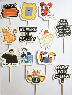 Set of 12 Friends TV Show Cupcake Toppers Made with premium cardstock Toppers measure about - wide Friends Birthday Cake, Friends Cake, Friends Show, Birthday Quotes, Graduation Party Themes, Grad Parties, 30th Birthday Party Themes, Birthday Table, Graduation Decorations