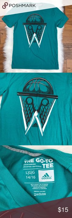 "Adidas The Go To Tee Teal Basketball Short Sleeve Adidas Boys The Go To Tee Teal Basketball Short Sleeve T-Shirt. Size Large. Armpit to armpit is about 17.5"". The length of the top is about 25"". adidas Shirts & Tops Tees - Short Sleeve"