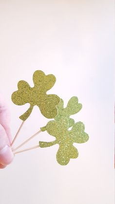 Shamrock Cupcake Toppers {Dozen} Large Glitter, St Patrick's Day Party Decoration, Clover, Irish Party, Baby Shower Theme 18 COLORS