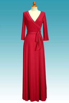 Details & Care This lovely Janette fashion dress has a surplice v neckline, tie belt with loops at waist, and solid fabric bottom (not open or slit).The fabric is heavy allowing the dress to hang beautifully.・ 95% polyester, 5% spandex.・ Hand ...