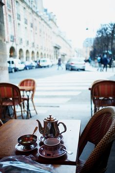 Relaxing morning coffee.
