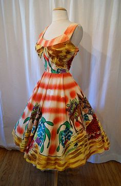 1950's hand painted Mexican dress