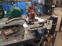 Tubing Notcher Homemade tube notcher constructed from a surplus drill press and budget notcher mounted on a vise Garage Tool Storage, Workshop Storage, Workshop Organization, Diy Workshop, Garage Workshop, Workbench Height, Garage Workbench, Homemade Tube, Metal Fab