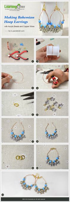 Making Bohemian Hoop Earrings with Acrylic Beads and Copper Wires