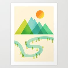 Bend in the River Art Print by Jenny Tiffany - $18.00