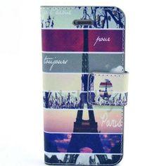 Quermuster-Mappen-Art-Standplatz-magnetischer Schlag-PC PU-Leder Tasche für iPhone 5C (Eiffelturm Muster)