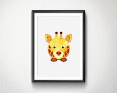 Cute Giraffe Watercolor Nursery animals prints by BlessLifePrints Cute Giraffe, Nursery, Watercolor, Unique Jewelry, Handmade Gifts, Prints, Life, Animals, Etsy