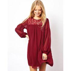ASOS Swing Dress Red Wine