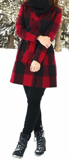bright red plaid jacket..