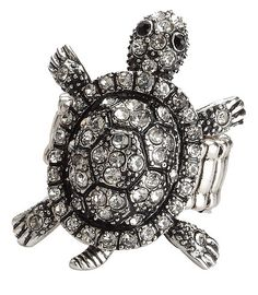 53512 Crystal Glass set turtle ring from www.joe-cool.co.uk