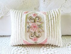vintage chenille pillow cover Three Roses by moreChenilleChateau, $69.00
