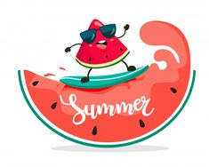 Funny surfer watermelon slice rides on watermelon waves. Watermelon Cartoon, Cartoon Pineapple, Cute Watermelon, Illustration Plate, Watermelon Illustration, Funny Fruit, Cute Fruit, Maluma Pretty Boy, Scrapbook Letters