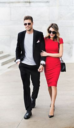 Couple Outfit Black Suit and Red Dress Couple Outfits, Casual Outfits, Fashion Outfits, Fashion Blogs, Style Blog, My Style, Beauty And Fashion, Mens Fashion, Dress Code