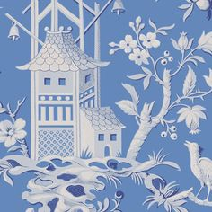 Pagoda Garden Wallpaper A striking wallpaper inspired by an antique French document from the 19th century, depicting a fantasy Oriental scene with gracefully arching trees, birds, and pagodas, shown in cornflower blue.