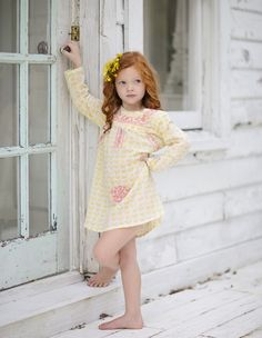 Stunning long sleeve Yellow Butterfly Mexican Dress by Haveli Designs!  Little Boo-Teek - Haveli Kids Clothing Online | Designer Girls Clothes Online