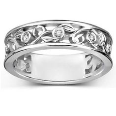 18K White Gold Leaves and Buds Diamond Ring