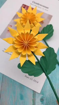 Origami Flowers, Diy Flowers, Paper Flowers, Paper Crafts For Kids, Arts And Crafts, Beaded Embroidery, Hand Embroidery, Paper Folding, Bottle Crafts