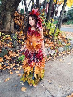 learn how to make a mother nature costume a dress from fresh leaves braided