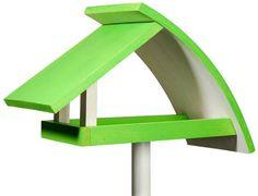 Nistkästen & Vogelhäuser - Modernes Vogelhaus in weiß-grün mit Ständer - ein Designerstück von garten-liebe bei DaWanda