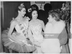 Ballet dancers Beryl Grey and Margot Fonteyn, with actress Glynis Johns, talking backstage at the gala ballet, held at the Royal Opera House, London, February 21st 1956.