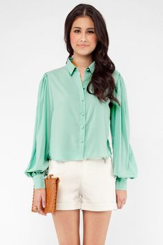 mint blouse $55, very cute outfit...i would pair it with some cute toms or tom look alike.