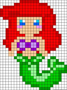 Ariel - maybe Hama beads pattern for Ellie Perler Bead Designs, Hama Beads Design, Perler Bead Disney, Perler Bead Art, Perler Beads, Fuse Beads, Cross Stitching, Cross Stitch Embroidery, Cross Stitch Patterns
