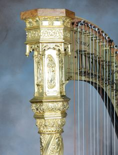 Erard Gothic double action pedal harp restored by H. Bryan & Co.