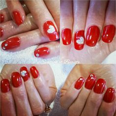 Remplissage gel + gelcolor bigapple by O.P.I Red nails, valentines nail, valentines day ,love , glitter, swarovski ❤💅