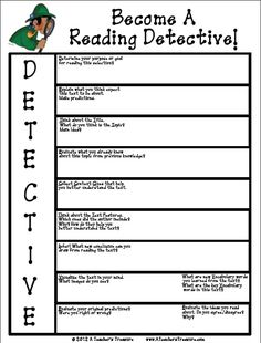 Nonfiction organizer uses the acronym DETECTIVE to guide students through the text and spark discussion.  It can be used before whole group discussion or afterward.  Students can complete it during guided reading with teacher's support or during ceneters/individual work.