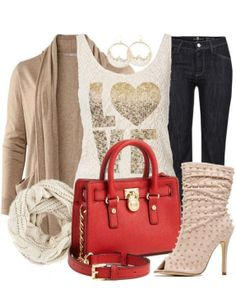Taupe & Denim w/a Pop of Red ♥