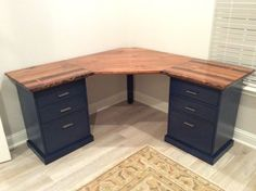 Live Edge Corner Desk Top with drawer bases - DIY office desk system desk ideas small Colorful Custom Bedford Corner Desk with Live Edge Desktop Diy Office Desk, Diy Computer Desk, Home Office Desks, Diy Desk, Home Office Furniture, Diy Furniture, Corner Desk Diy, Luxury Furniture, Laminate Furniture