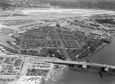 A little anomaly dates back to World War II, this whole fake neighborhood built atop a Boeing factory south of downtown Seattle, meant to hide the presence of airplane production facilities below … the cumulative size of eight football fields.