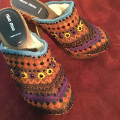 Mui Mui Clog Auth ♦️♦️ Cute colorful Artisan clog! Made in Italy! Prada Shoes