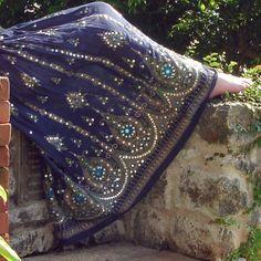 Gypsy Skirt: Long Midnight Dark Navy Blue Indian Boho Bohemian Crinkle Peasant Maxi Skirt Cover Up. $36.99, via Etsy.