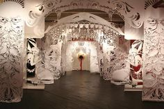 Paper cutting installation by Caledonia Curry