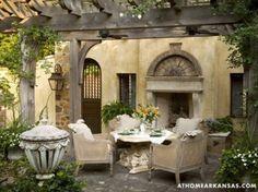 Amazing Old European Style Garden And Terrace Design  ,, agreeable  dejeuner  dans  tres  beau  prieure ,,,,,,,,**+