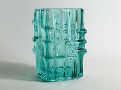 Mid century german vintage glass vase turquoise from the 70s