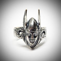 Statement Valkyrie ring, Adjustable Viking jewelry, Size 8 - 10 US, Silver plated brass Nordic rings