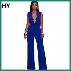4fbc40c044 Blue Jumpsuit Women Sexy V Sleeveless Club Wear Casual Ladies Party  Jumpsuits Monos Largos De Mujer