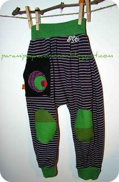Para mi peque con amor: Pantalones bombachos. Modelo 1. Tutorial y patrón talla 3 años