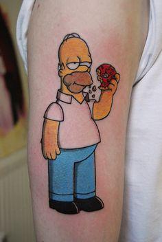 Tatuagem Homer Simpson comendo rosquinha