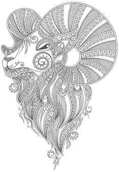 tatouage bélier à colorier --> If you're looking for the most popular adult coloring books and supplies including colored pencils, gel pens, watercolors and drawing markers, check out our website at http://ColoringToolkit.com. Color... Relax... Chill.