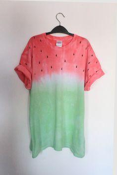 Halloween???  Watermelon Fruit Tie Dye / Dip Dye T Shirt. Fruit of the Loom, 100% Cotton. Size…
