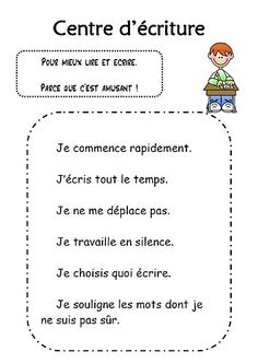 Tableau centre d'écriture Daily 5 Writing, Daily 5 Reading, Daily 5 Math, Daily 5 Activities, Writing Activities, French Teaching Resources, Teaching French, Ontario Curriculum, Education And Literacy