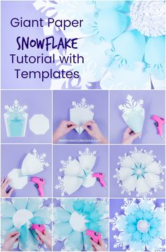 Create your own easy giant paper snowflakes with our paper snowflake tutorial and template. Deck your halls for Christmas with these big paper snowflakes. Paper Snowflake Template, 3d Paper Snowflakes, Snowflake Pattern, Flower Template, Frozen Themed Birthday Party, Snow Flakes Diy, Giant Paper Flowers, Diy Flowers, Paper Flower Tutorial
