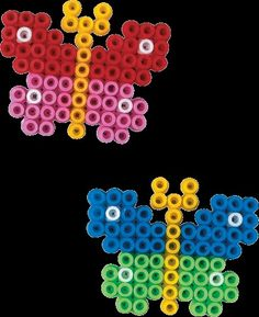 Little Hama bead butterflies, a good one for small children to start with Perler Bead Designs, Hama Beads Design, Diy Perler Beads, Melty Bead Patterns, Pearler Bead Patterns, Perler Patterns, Beading Patterns, Art Patterns, Beading For Kids