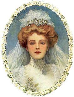 A vintage bride. Images Vintage, Vintage Pictures, Wedding Illustration, Photo Illustration, Chihiro Y Haku, Victorian Bride, Etiquette Vintage, Vintage Bridal, Pics Art
