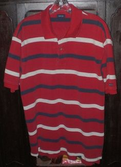 IZOD Men's Striped Polo Short Sleeve Shirt~Size Large~Red White Blue~100% Cotton | Clothing, Shoes & Accessories, Men's Clothing, Casual Shirts | eBay!