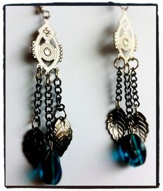 Blue bead and chain dangling earrings by Gazerie on Etsy, $10.00